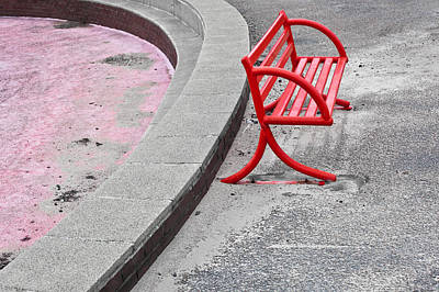 Empty Chairs Photograph - Red Bench by Tom Gowanlock
