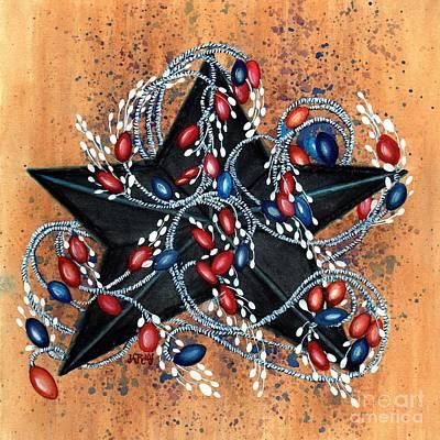 Red Berries De Vine - Black Star Print by Janine Riley
