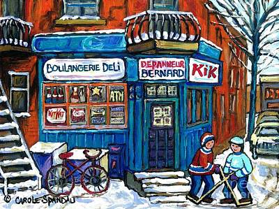 Red Bike At Boulangerie Bernard Street Hockey Paintings Best Canadian Winter Scene Art Original by Carole Spandau