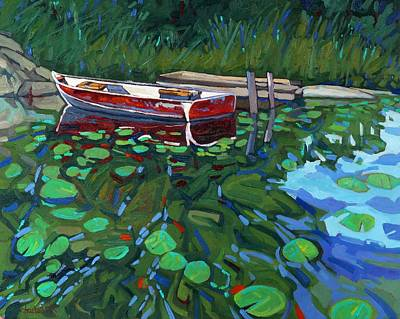 Canoeist Painting - Red Boat by Phil Chadwick