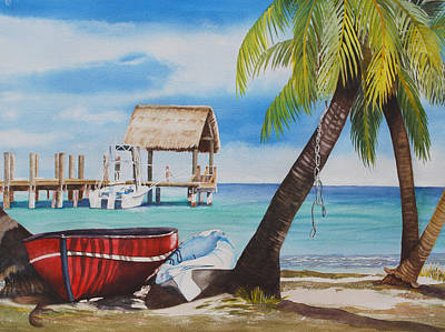 Waterscape Painting - Red Boat by Terry Arroyo Mulrooney