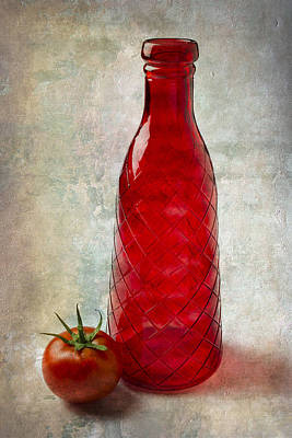 Red Bottle And Tomato Print by Garry Gay
