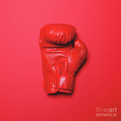 Kick Boxer Photograph - Red Boxing Glove On Red Background - Flat Lay by Aleksandar Mijatovic