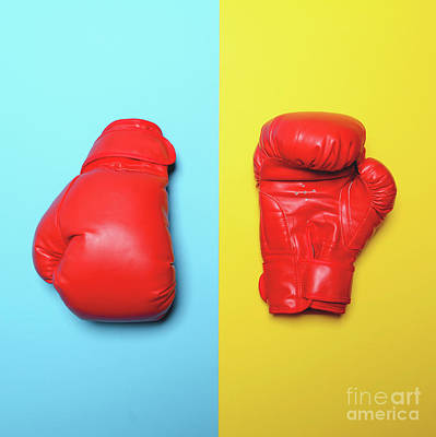 Kick Boxer Photograph - Red Boxing Gloves On Blue And Yellow Background - Flat Lay by Aleksandar Mijatovic