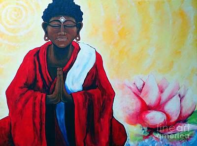 Tibetan Buddhism Painting - Red Buddha Lotus by Jackie Carpenter
