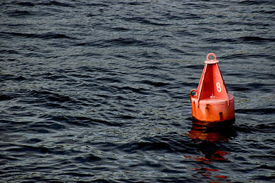 Noaa Photograph - Red Buoy Marked With Number Eight by Todd Gipstein