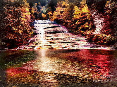 Red Buttermilk Falls New York Autumn Print by Robert Gaines