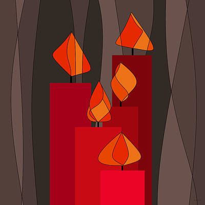 Candle-abstract Painting - Red Candles - Square by Val Arie