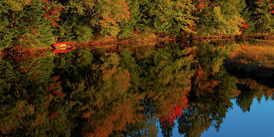 Red Canoe Reflections Print by David Patterson