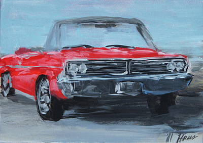 Scoop Painting - Red Car by Mary Haas