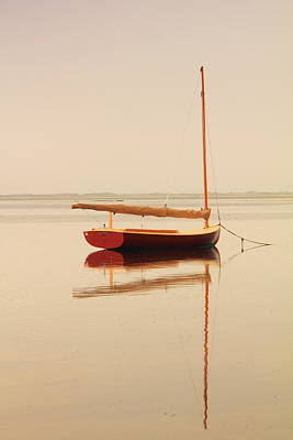 Red Catboat On Misty Harbor Print by Roupen  Baker