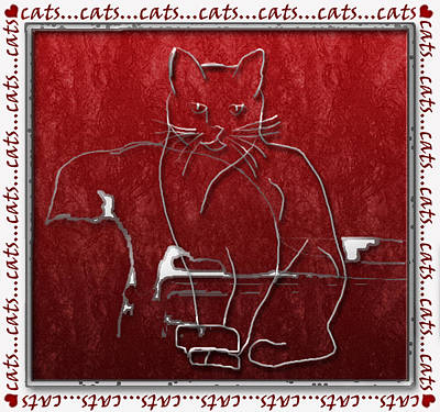 Abstract Digital Digital Art - Red Cats by Arline Wagner