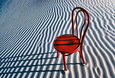 Solitude Photograph - Red Chair In Sand by Garry Gay