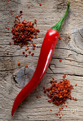 Fiery Photograph - Red Chili Pepper by Nailia Schwarz