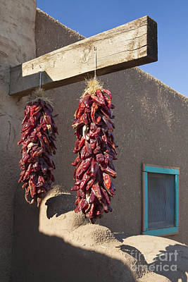 Taos New Mexico Photograph - Red Chili Peppers Hanging Outdoors by Bryan Mullennix