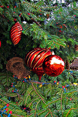 Red Christmas Balls Print by Rich Walter