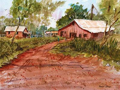 Red Clay Farm - Watercolor Original by Barry Jones