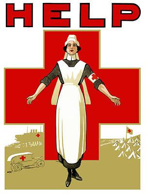 Nurse Shark Mixed Media - Red Cross Nurse - Help by War Is Hell Store