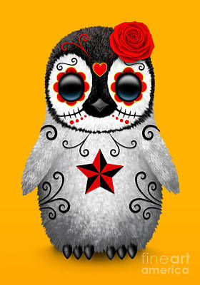 Penguin Digital Art - Red Day Of The Dead Sugar Skull Penguin by Jeff Bartels
