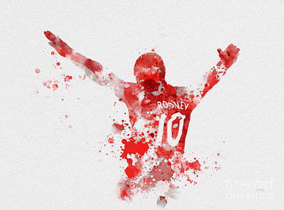 Wayne Rooney Mixed Media - Red Devil by Rebecca Jenkins