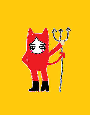 Holloween Drawing - Red Devil by Watcharee Suebkhajorn