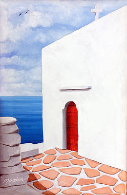 Red Door At Paraportiani, Mykonos Print by Mary Grden's Baywood Gallery