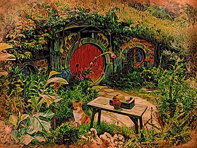 Corgi Digital Art - Red Door Hobbit House With Corgi by Kathy Kelly