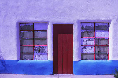Store Fronts Photograph - Red Door Old Building by Garry Gay