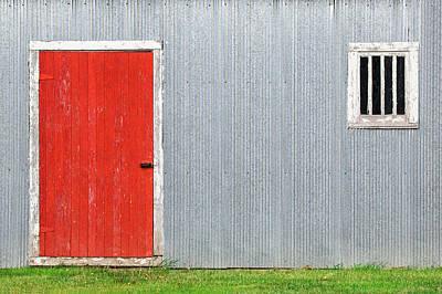 Red Door, Silver Wall Print by Todd Klassy