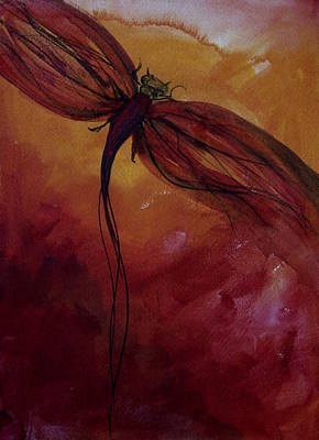 Julie Lueders Artwork Painting - Red Dragonfly by Julie Lueders