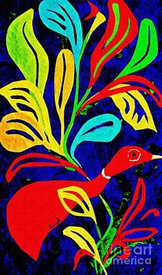 Joyful Mixed Media - Red Duck by Sarah Loft