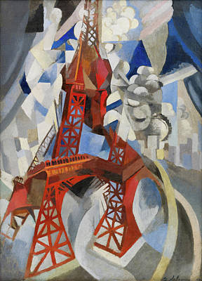 Landscape Painting - Red Eiffel Tower by Robert Delaunay