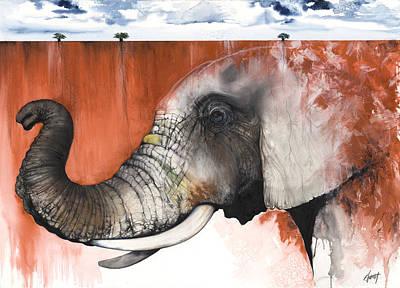 Red Elephant Original by Anthony Burks Sr