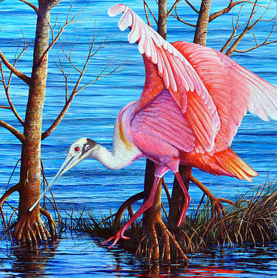 Spoonbill Painting - Red Eye Squared by AnnaJo Vahle
