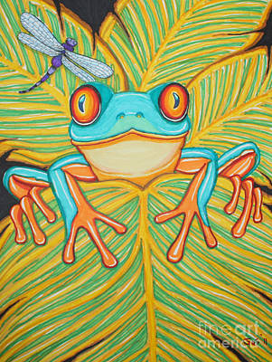 Amphibians Drawing - Red Eyed Tree Frog And Dragonfly by Nick Gustafson
