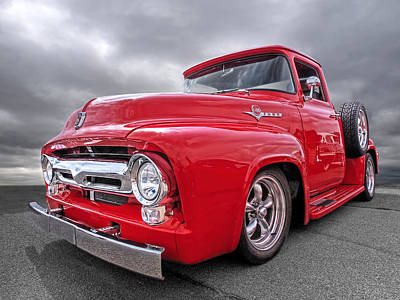 Custom Ford Photograph - Red F-100 by Gill Billington