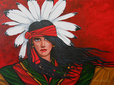 Indian Painting - Red Feathers by Lance Headlee