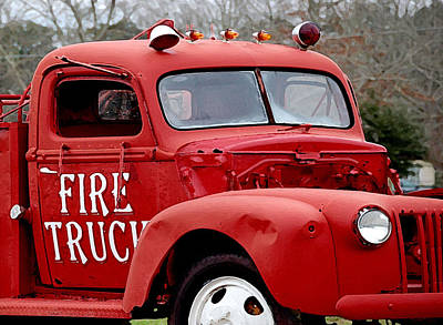Old Trucks Digital Art - Red Fire Truck by Michael Thomas