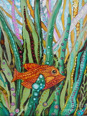 Abstract Using Brilliant Colors Painting - Red Fish Hiding by Joan Clear
