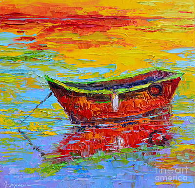 Red Fishing Boat At Sunset - Modern Impressionist Knife Palette Oil Painting Print by Patricia Awapara