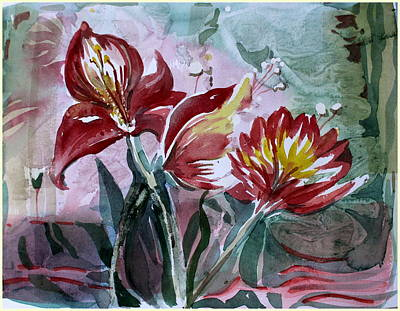 Red Flora Original by Mindy Newman