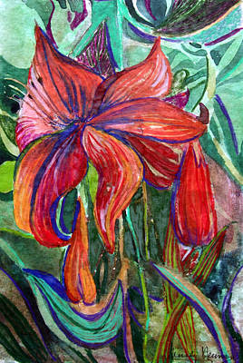 Red Flower Print by Mindy Newman