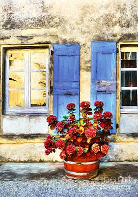 Red Flowers And Blue Shutters Print by Mel Steinhauer