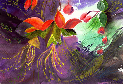 Spring Scenes Mixed Media - Red Flowers by Anil Nene
