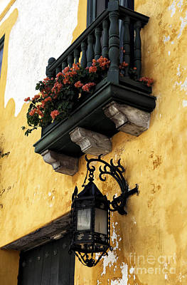 Red Flowers In Cartagena Print by John Rizzuto