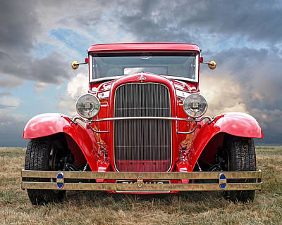 Red Ford Coupe Head On Print by Gill Billington