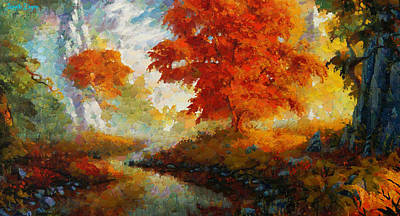 September Painting - Red Forest - Pa by Leonardo Digenio