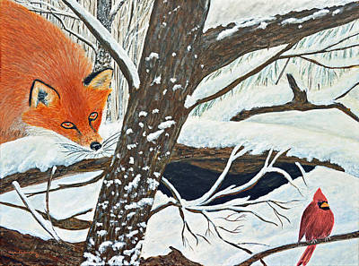 Red Fox Painting - Red Fox And Cardinal by Ken Figurski