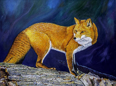 Red Fox Painting - Red Fox At Sunset  by Manuel Lopez