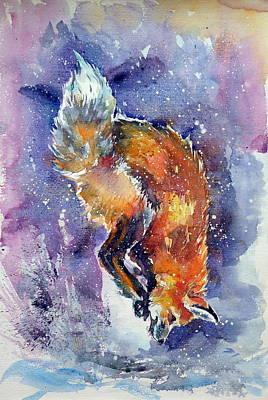 Fox Painting - Red Fox Hunting by Kovacs Anna Brigitta